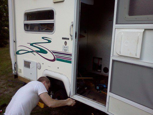How To Replace The Floor And Roof Of An Rv Camper Or Trailer Axleaddict Camper Flooring Camper Repair Rv