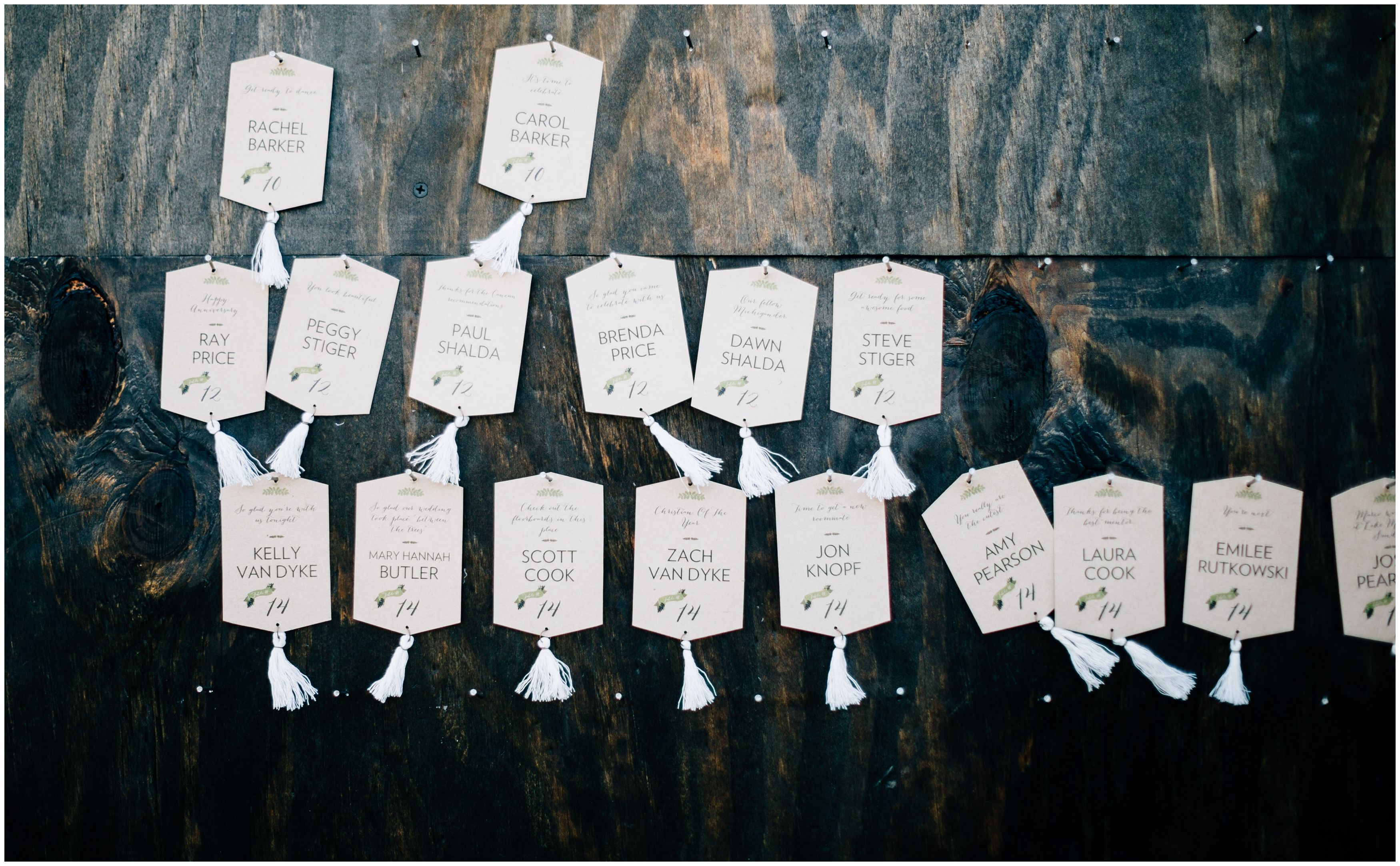 Love these personalized cards with not only a table number, but a note from the bride to the guest!