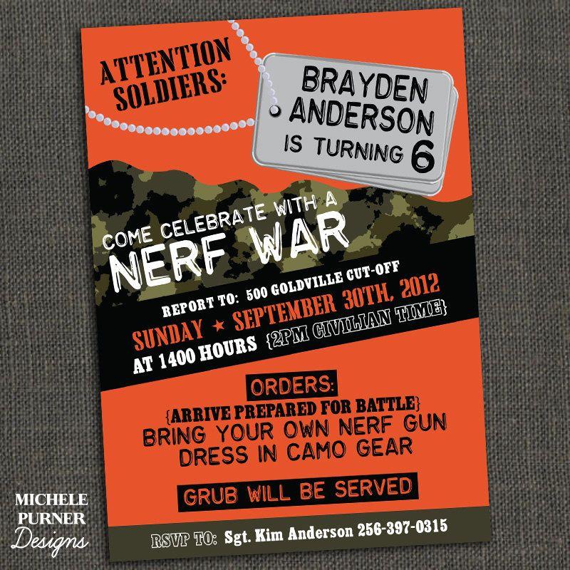 NERF WAR Boys Camo Birthday Party Invitation PRINTABLE Camo