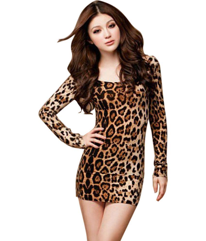 Sexy leopard long sleeve short dress.  65ba950c2