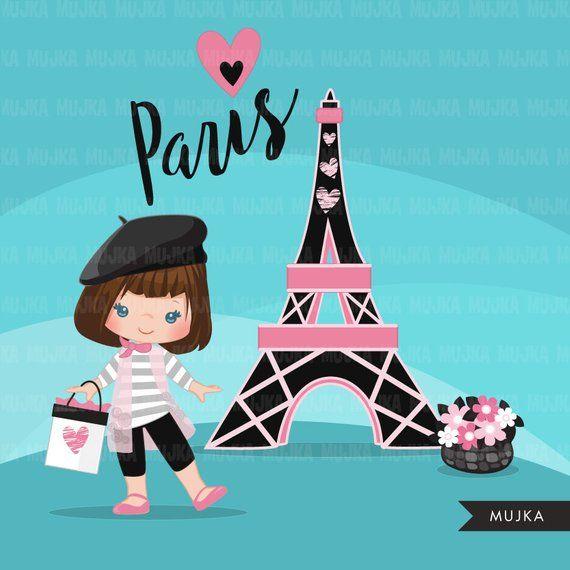 Eiffel tower glitter. Paris clipart pink background