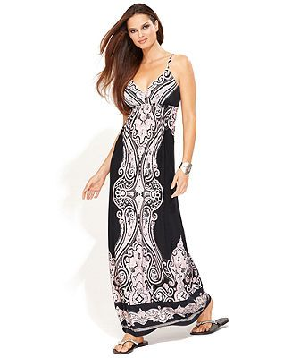 INC International Concepts Dress, Spaghetti-Strap Printed Empire-Waist Maxi - Shop All INC Apparel - Women - Macy's