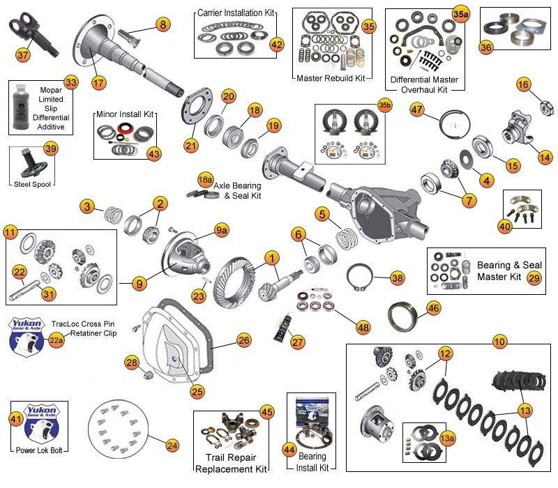dana 44 rear axle parts for wrangler tj jeep tj parts diagrams rh pinterest com Jeep Wrangler Rear Diff jeep rear axle diagram