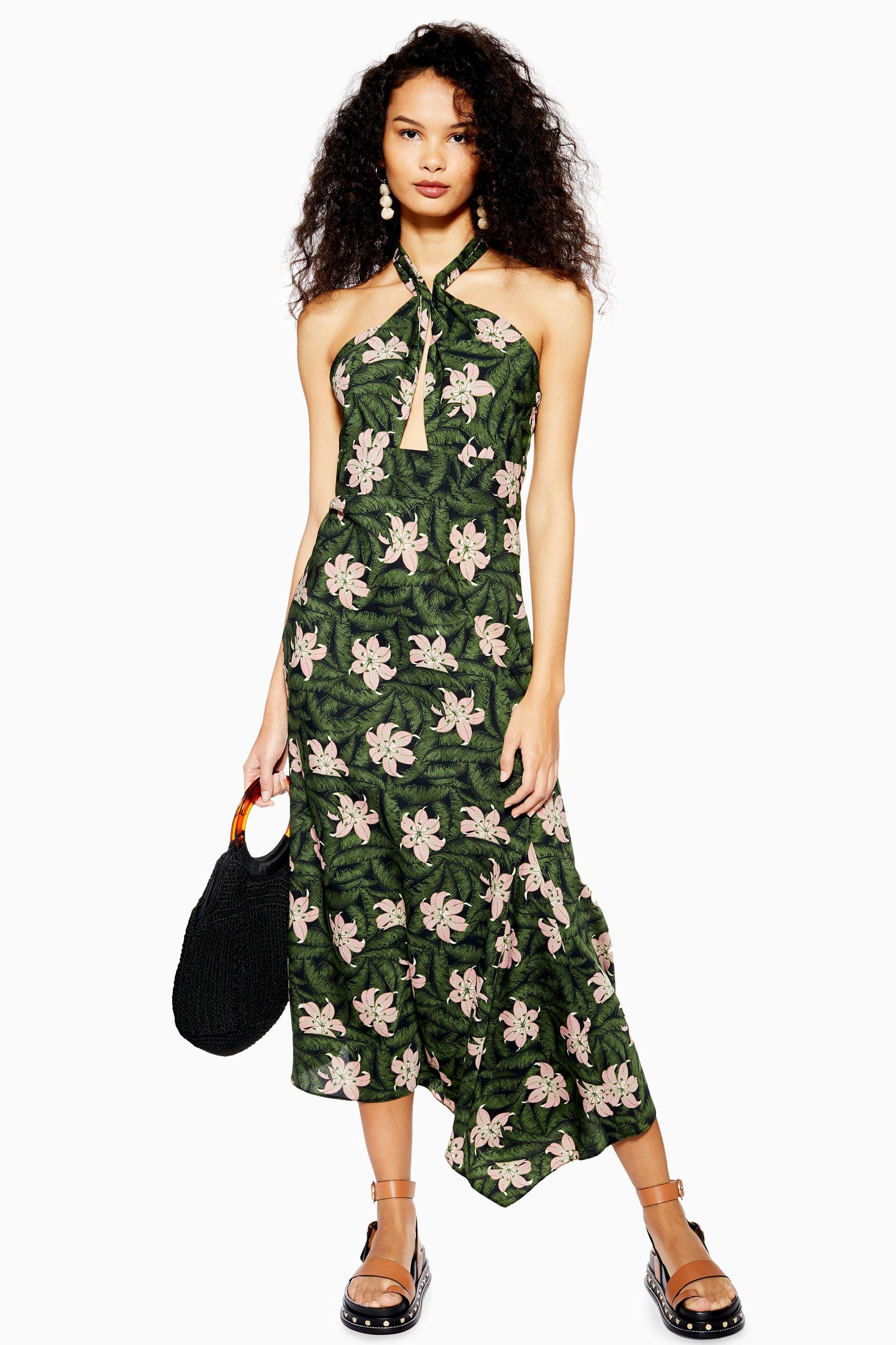 e0d6843a9b15 Hibiscus Floral Halter Neck Midi Dress in 2019 | #dresses | Dresses ...