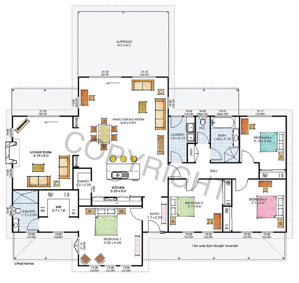 The Barrington Floor Plan Download A Pdf Here Paal Kit Homes Offer Easy To Build Steel Frame Kit Homes For The Owner Builder Kit Homes House Plans Kit Home