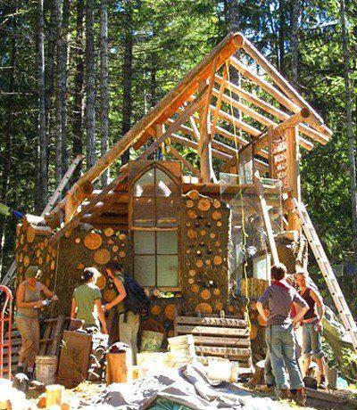 Community built cordwood house