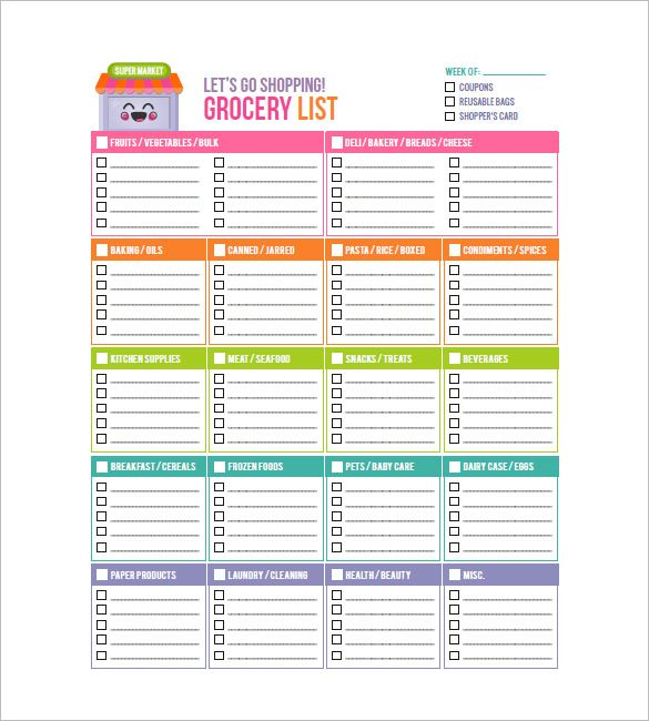 13 Blank Grocery List Templates Grocery Shopping List Template
