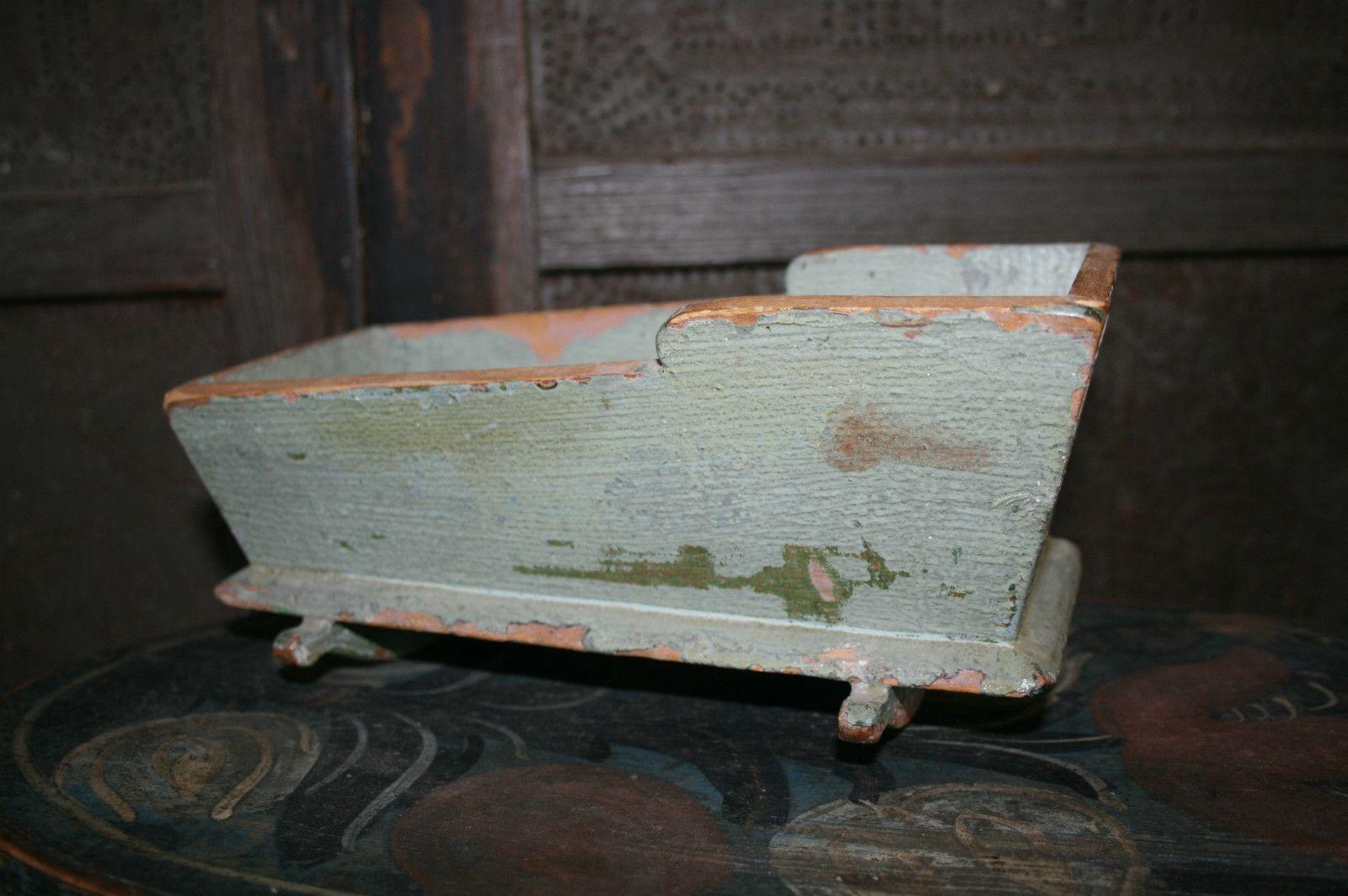Antique Primitive Painted Child S Miniature Dresser: Early Primitive Doll Cradle Antique Painted Miniature Folk