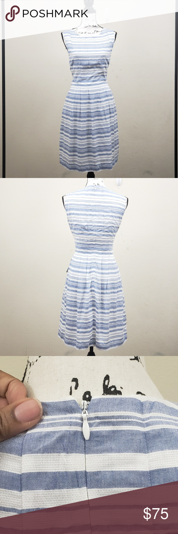 New Vince Camuto White Blue Striped Dress Size 14 Blue Striped Dress Striped Dress Size 14 Dresses [ 1740 x 580 Pixel ]