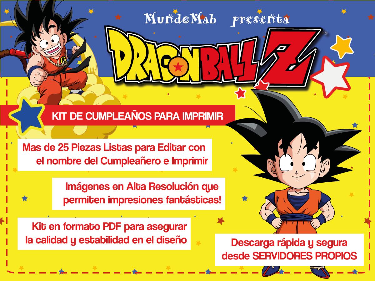Fantástico kit imprimible para cumpleaños de Dragon Ball Incluye tarjetas de invitación