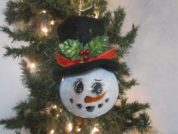 Snowman Gourd Ornament by lindajdesigns on Etsy, $15.00
