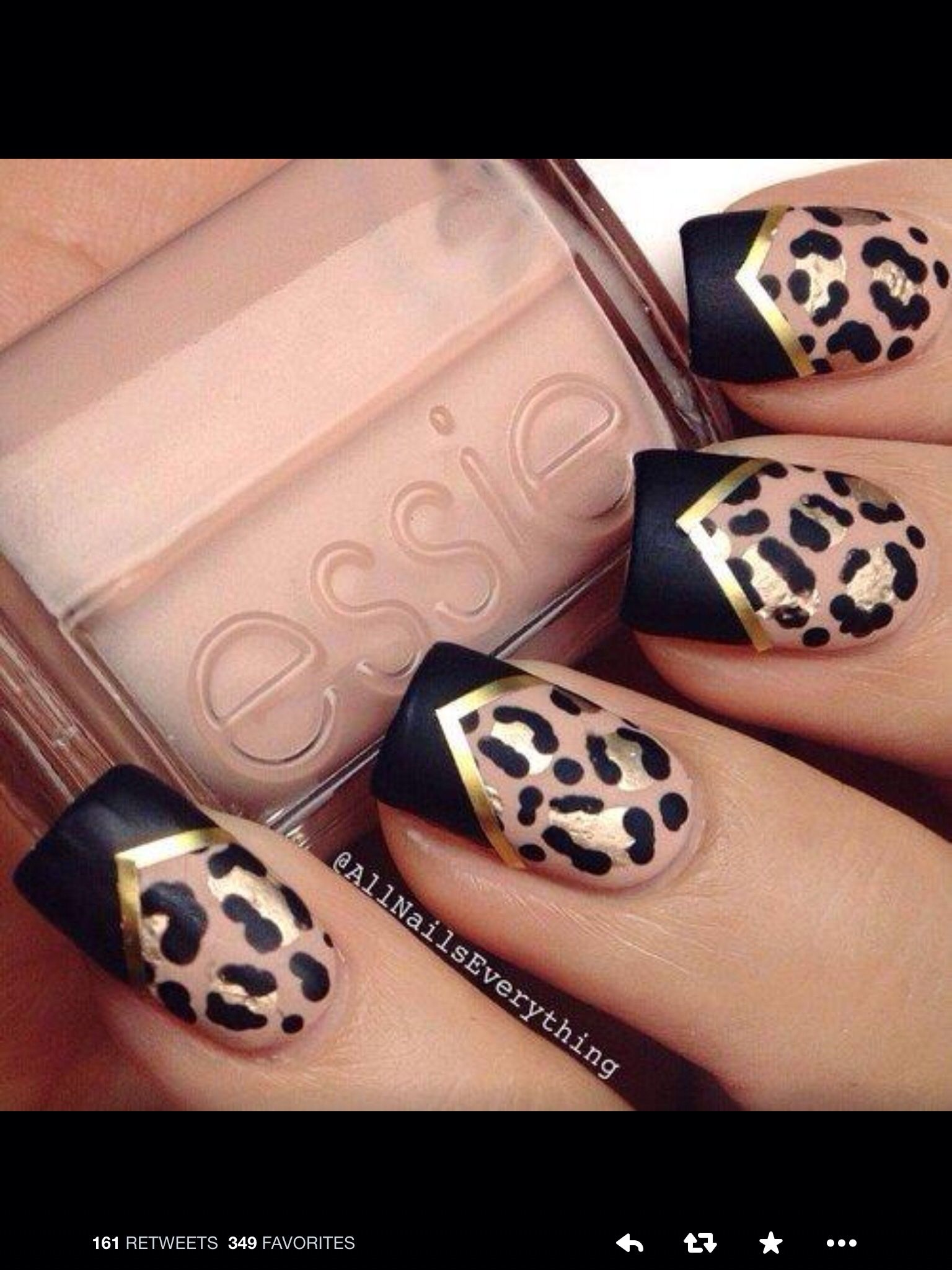 Cheetah Nail Designs, Gold Nail Designs, Leopard Print Nails, Cute Nail - Pin By Jeannine Ranni On Nails Pinterest Nail Designs, Nails And