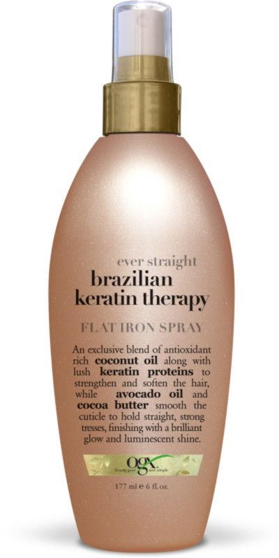 Ever Straight Brazilian Keratin Therapy Flat Iron Spray Flat Iron Spray Brazilian Keratin Therapy Ogx Hair Products