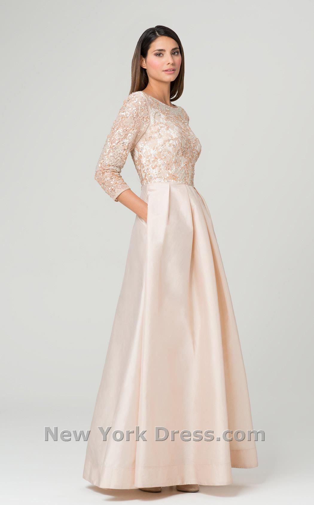 Glittering Applique Evening Gown by Aidan Mattox. Shine on in this ...
