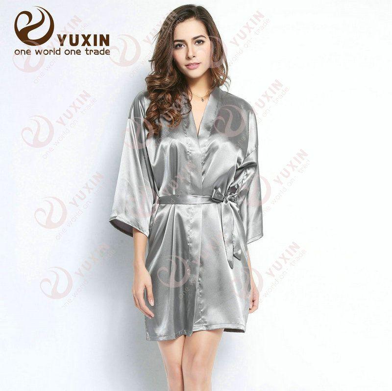 Non Traditional Fall Wedding Dresses: Details About Women Plain Silk Satin Robes Bridal Wedding
