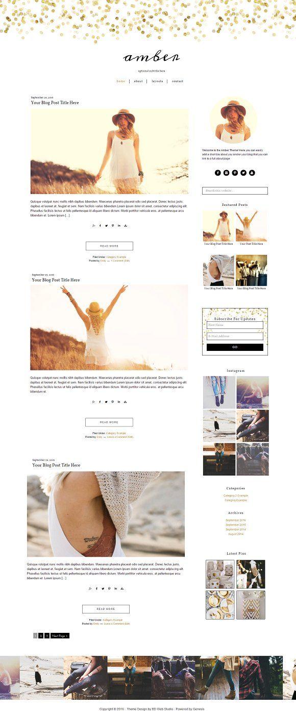 Feminine Gold Wordpress Theme Blog Themes Wordpress Wordpress