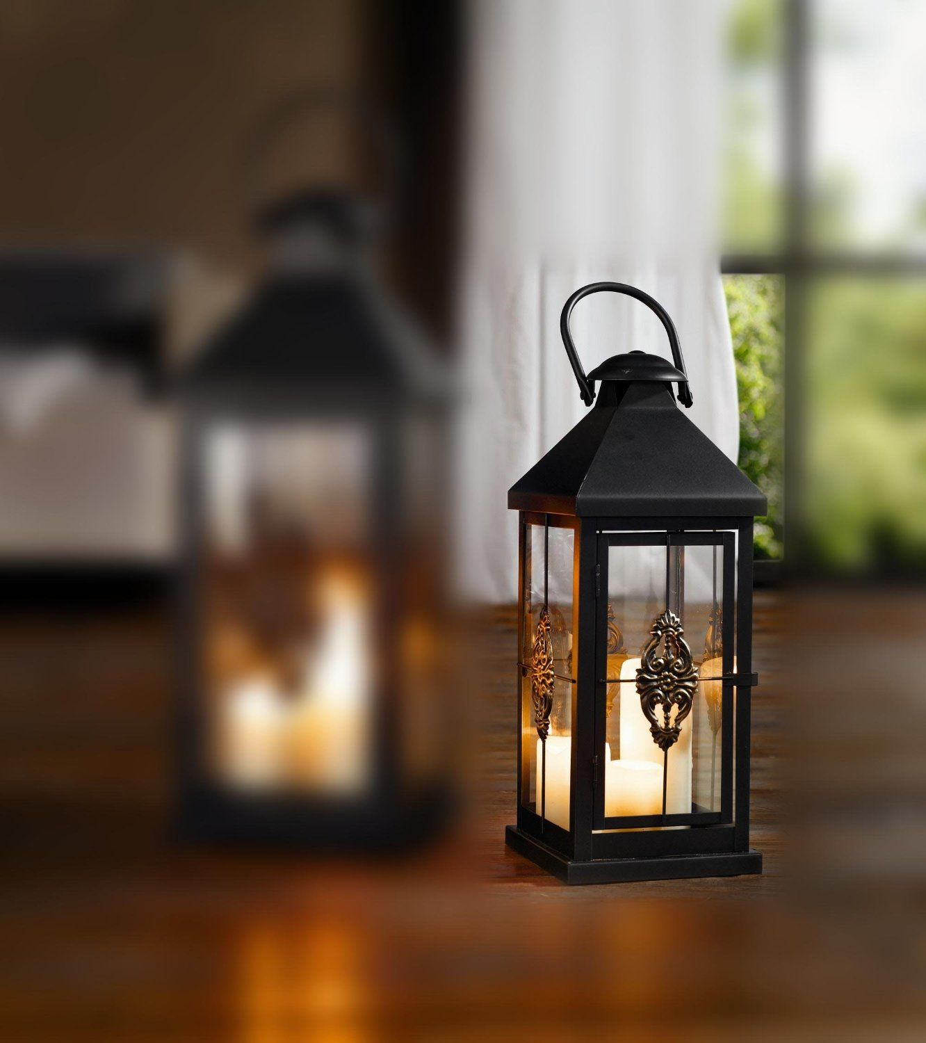 decor of lanterns outdoor htm decorative set lantern candle sale hanging on three silver