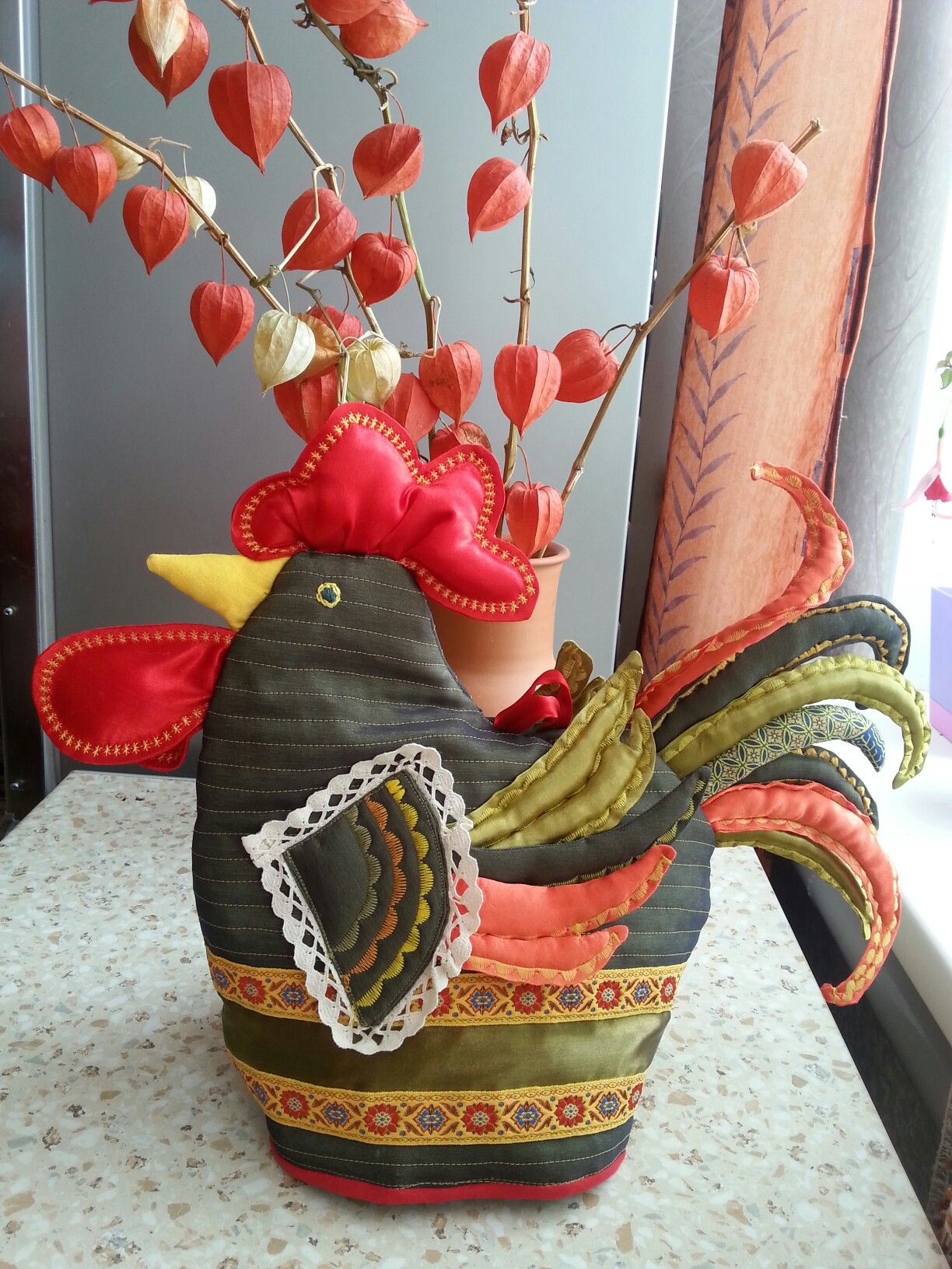 The rooster - warmer for teapot. Петух - грелка на чайник.