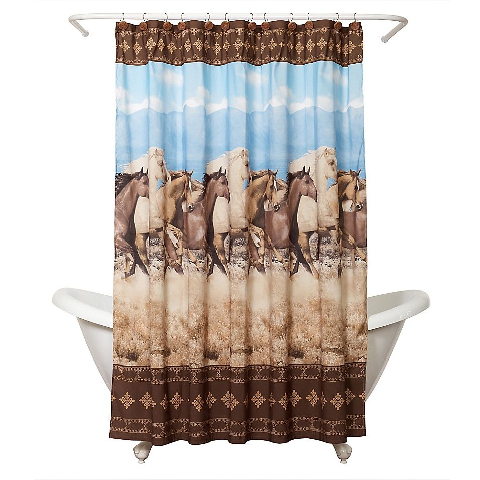 Zenna Home Running Free Shower Curtain In Western Theme Multi Bathroom Shower Curtains Shower Curtain Hooks Western Curtains