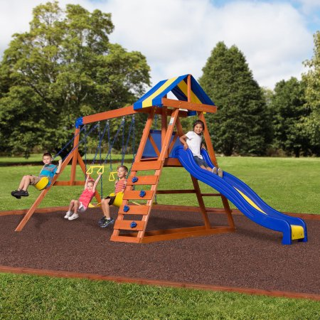 Backyard Discovery Dayton Cedar Wooden Swing Set Walmart Com