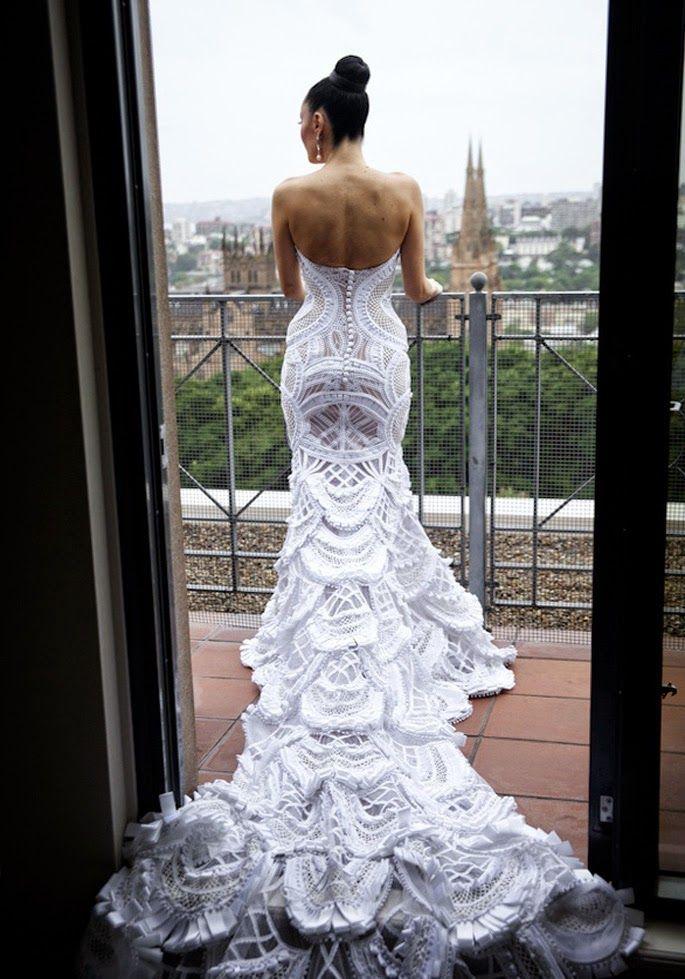 J aton wedding dress #hochzeitskleiderhäkeln