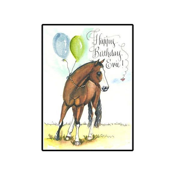 Personalized Horse Birthday Card Lovers Custom Watercolor