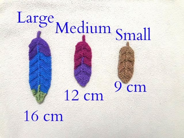 How to crochet medium and small feathers - kleine und mittlere ...