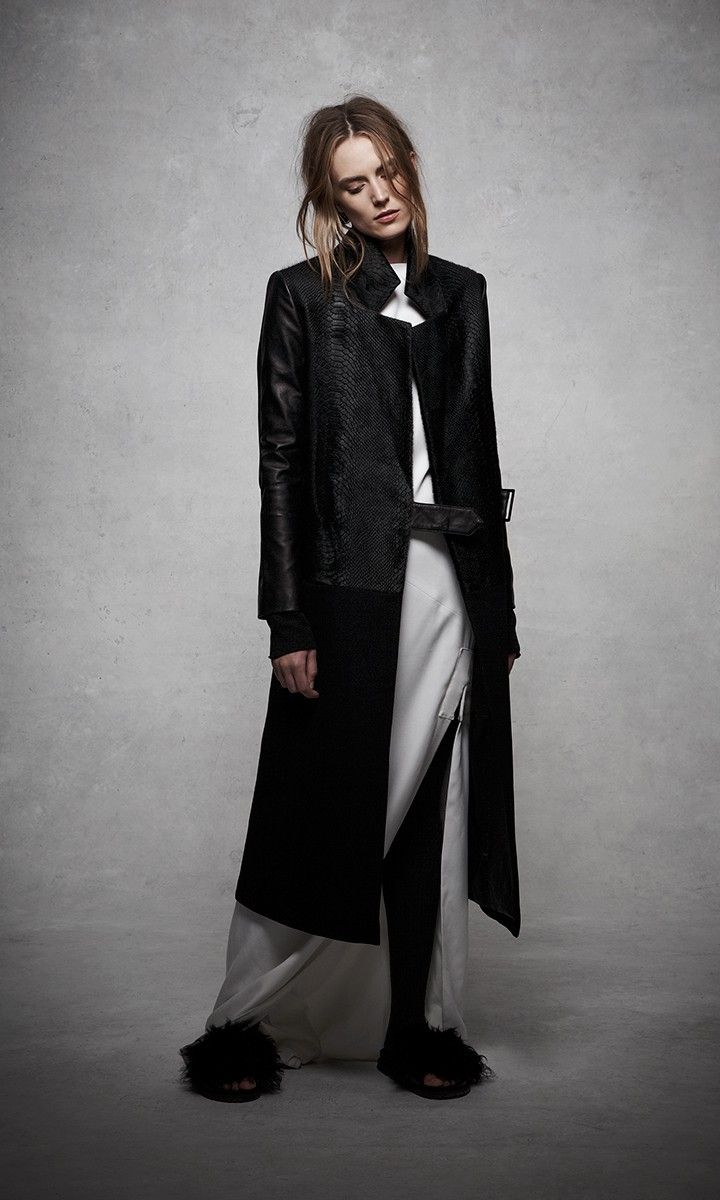 ashley B Calf Hair & Wool Leather-Trim Coat