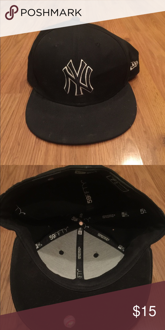 New York Yankees Black Flat Brim Hat 7 5 8 Black Flats Flat Brim Hat Brim Hat