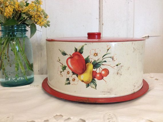 As Is 1950s Decoware mid century cake tin by WhimsicalStewShop