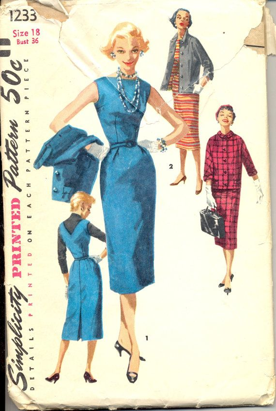 Vintage 1950's Womens Dress, Jumper and Jacket Pattern, Simplicity 1233 Sewing Pattern, Size 18