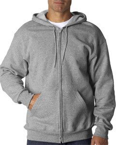 Fruit of the Loom Adult SupercottonFull-Zip Hooded Sweatshirt 82230 Athletic Heather (65/35)