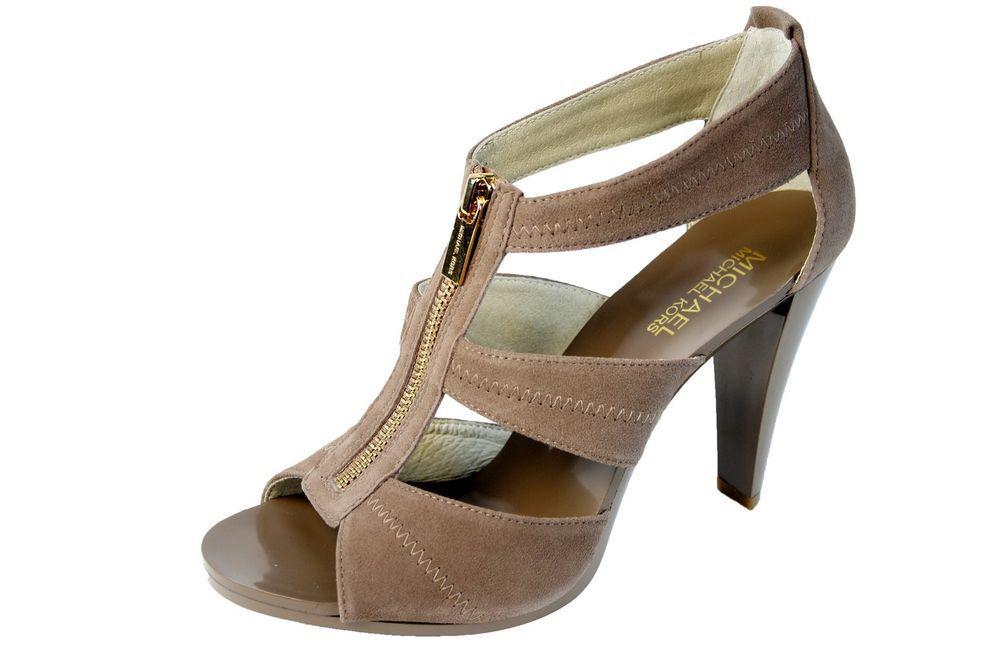 Michael Kors Berkley T-Strap High Heel Sandals Dark Dune/Gold Suede Zip Shoe #MichaelKors #TStrap