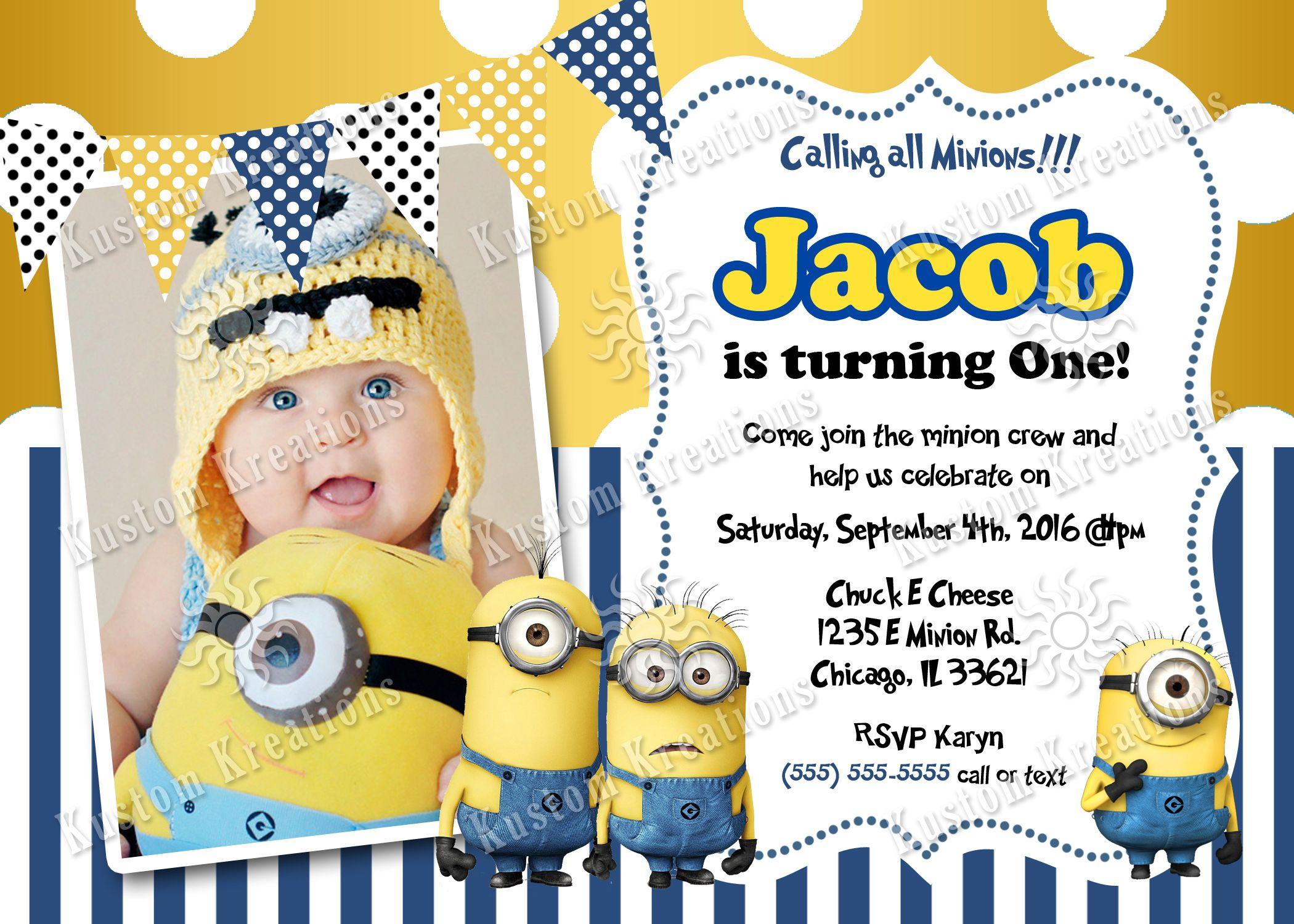 Minions Birthday Invitations Minion Birthday Invitations Birthday Invitation Card Template Boy Birthday Invitations
