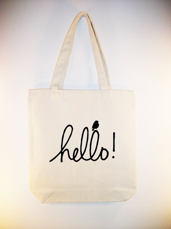 adorable hello tote with little bird image in any color you like selection of sizes available. Black Bedroom Furniture Sets. Home Design Ideas