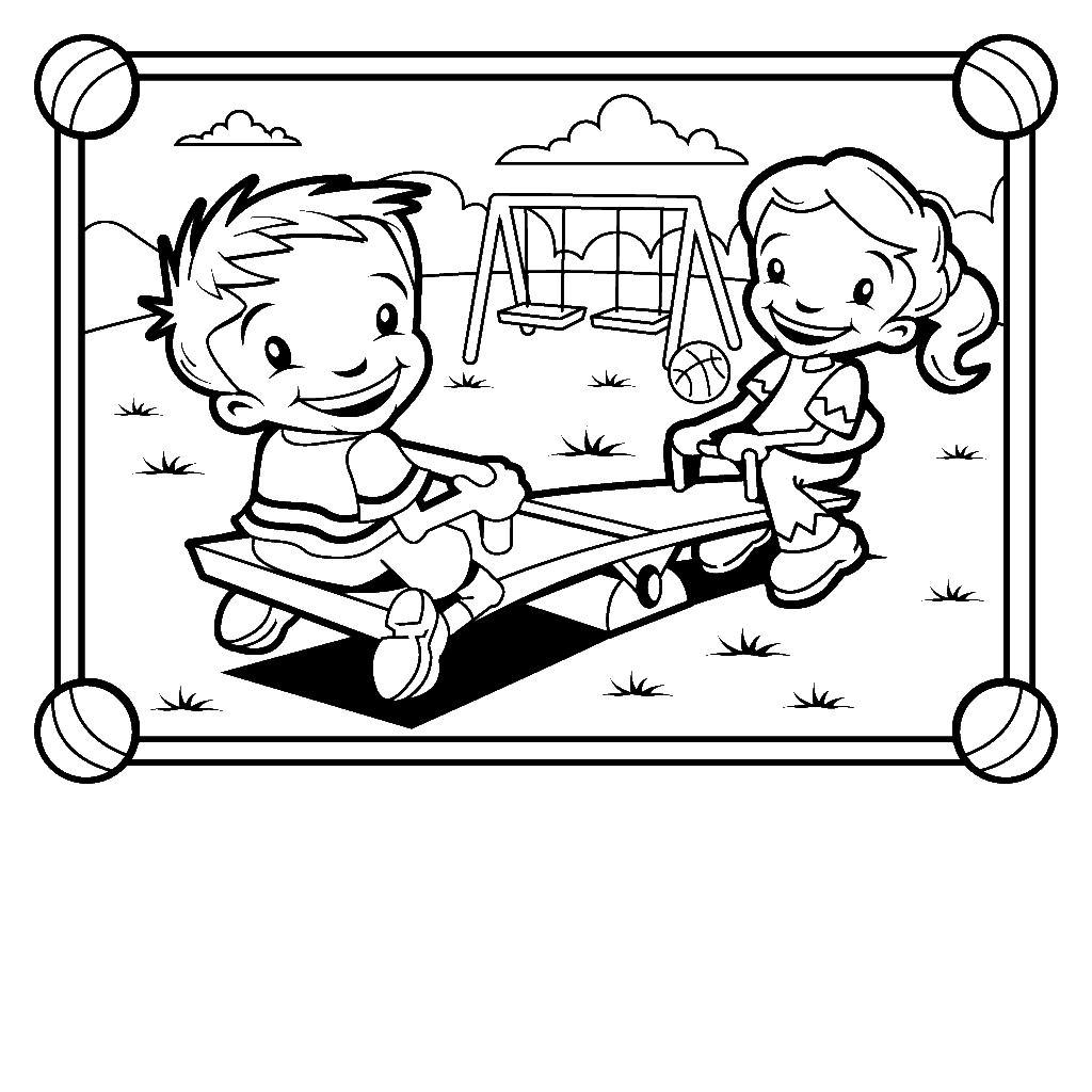 thank you for visiting kids at park on seesaw colouring picture