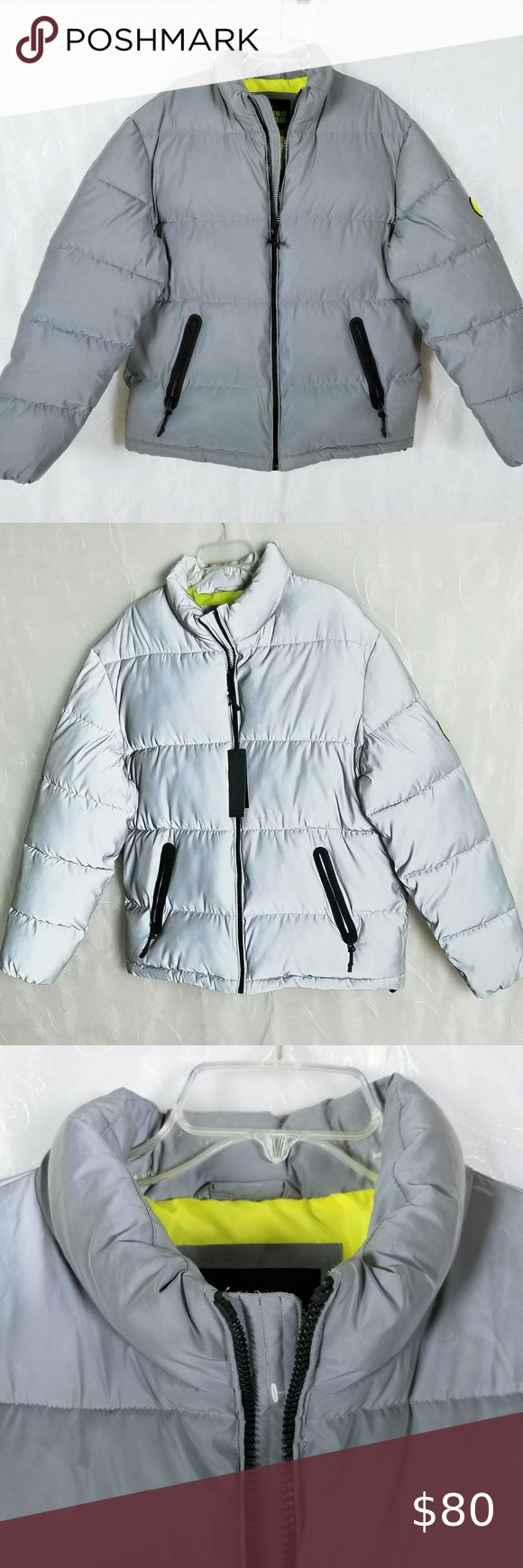 Ae X Young Money Reflective Puffer Jacket Grey Gray Jacket Jackets Clothes Design [ 1740 x 580 Pixel ]