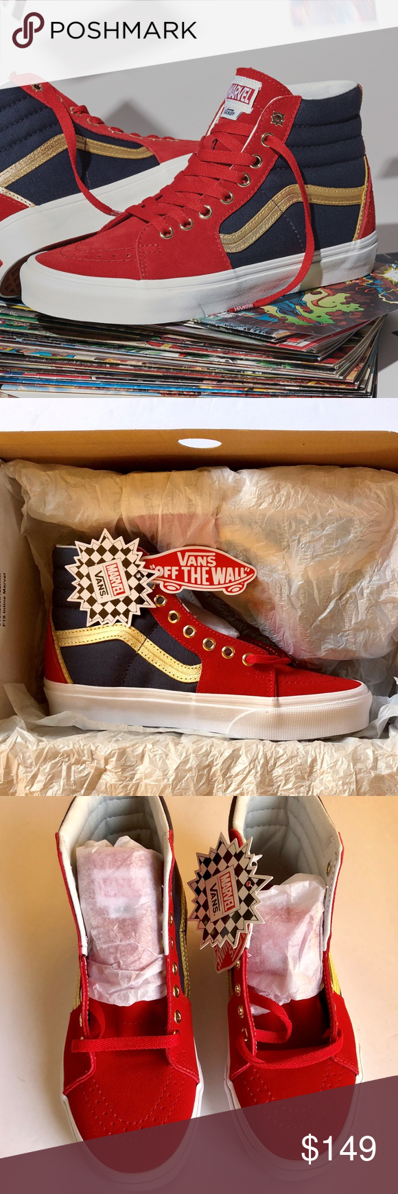 9dcc23e44f5d2b Vans Captain Marvel Limited Edition Sk8 Hi 100% AUTHENTIC - NEW - WITH BOX Men s  size 7.5 These are sold out everywhere! Converse Shoes Sneakers