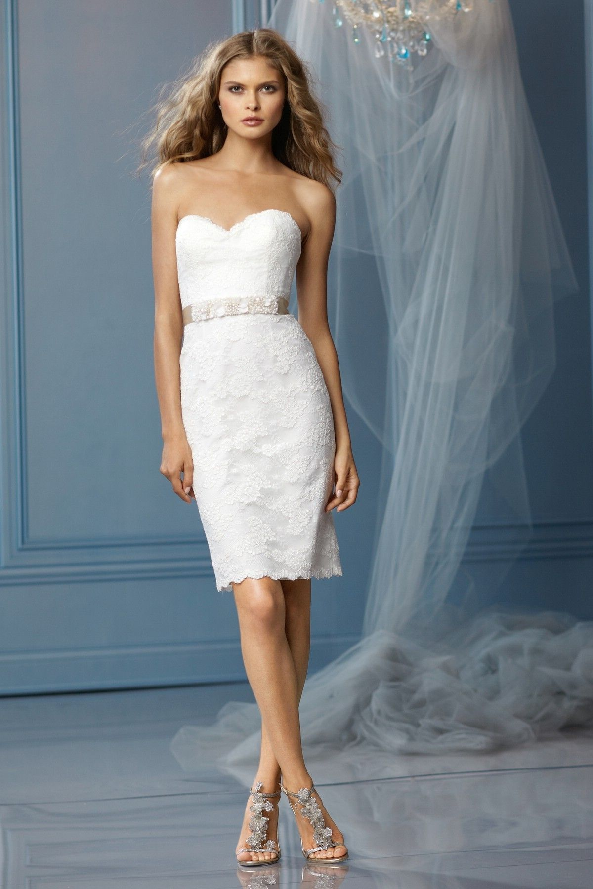 Strapless Sweetheart Neckline Short Length Lace Wedding Dress ...