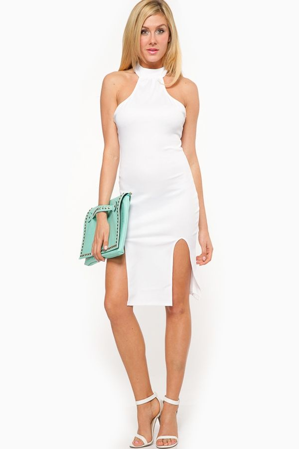 White Halter Double Slit Dress @ Cicihot sexy dresses,sexy dress ...