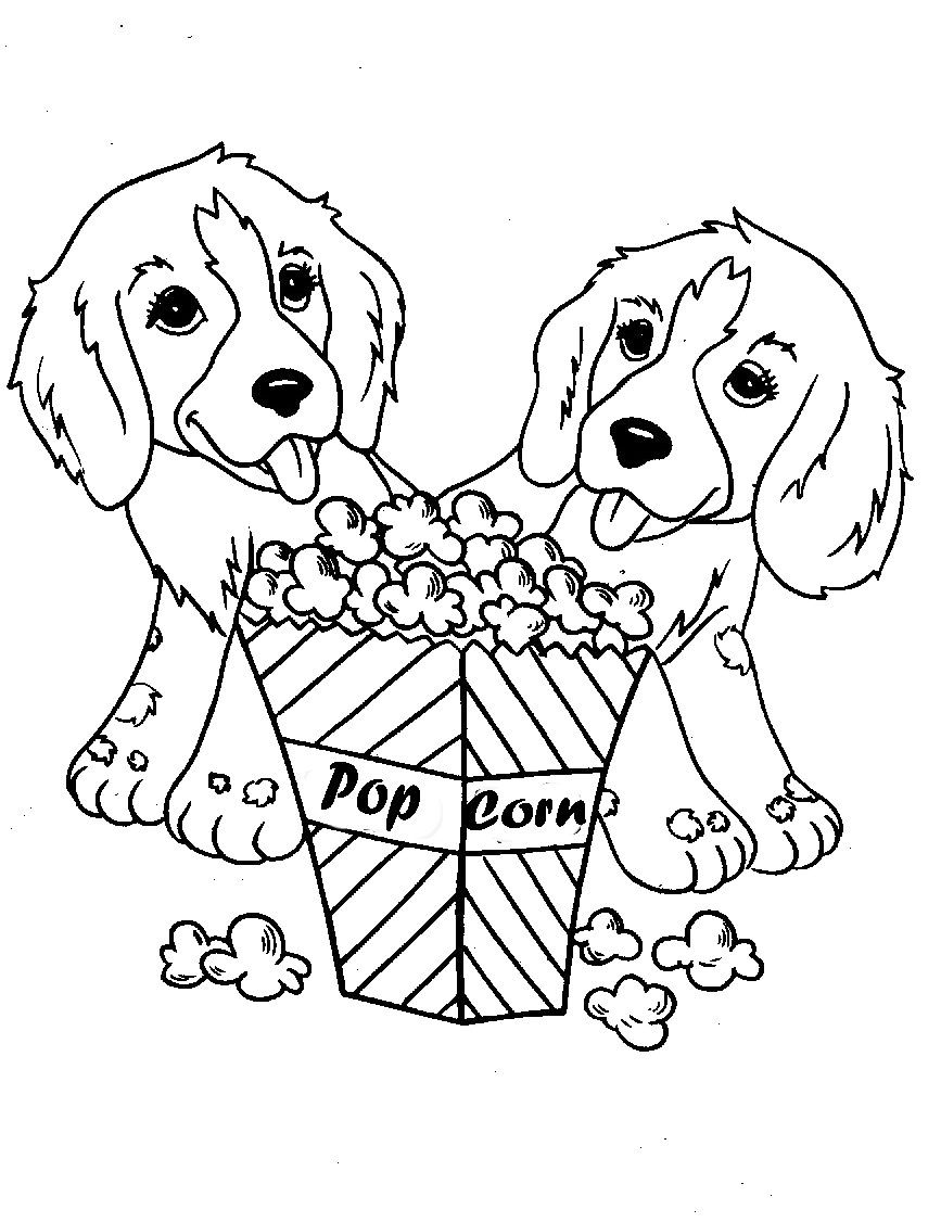 Two Dog Eat Popcorn Coloring Pages (With images) | Puppy ...