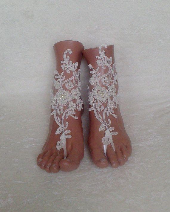b5acd42d79928a Free ship ivory Beach wedding barefoot sandals by GlovesByJana