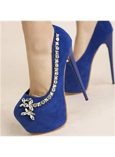 New Fashion Rhinestone Round-toe Stiletto Heel Prom Shoes