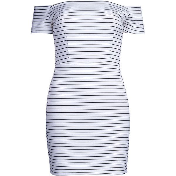 White Off Shoulder Stripe Print Bodycon Dress (€18) ❤ liked on Polyvore featuring dresses, white day dress, off the shoulder dress, short white dresses, white cotton dress and bodycon dress