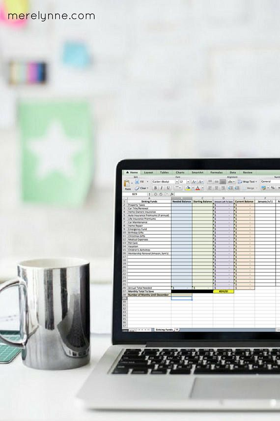 Sinking Funds Excel Budget Planner Budget Printable Budget Binder - how to make a budget spreadsheet on excel