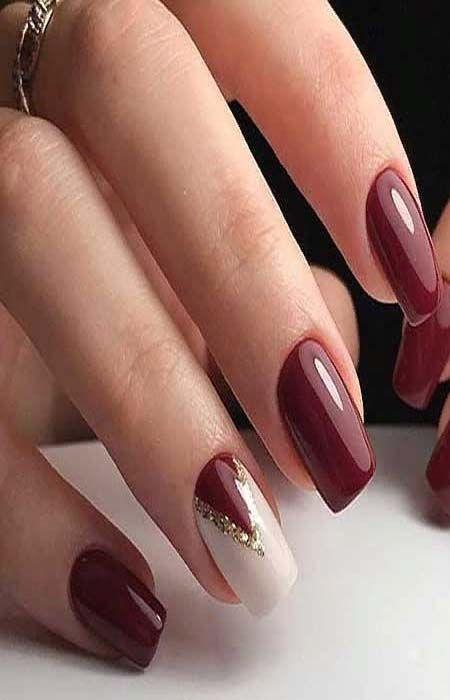 Burgundy Nails With Gold Glitter Glitternails Burgundy Nail Art With Glitter With Rhinestones And W Gold Acrylic Nails Burgundy Nails Burgundy Nail Designs