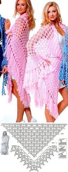 Opengewerkte gehaakte shawl