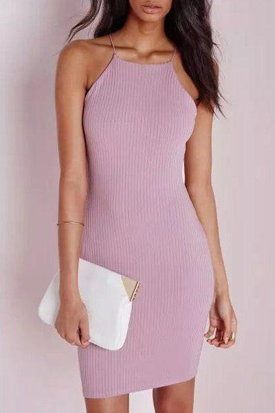 44323084 Solid Color Bodycon Spaghetti Straps Dress PURPLE: Bodycon Dresses | ZAFUL