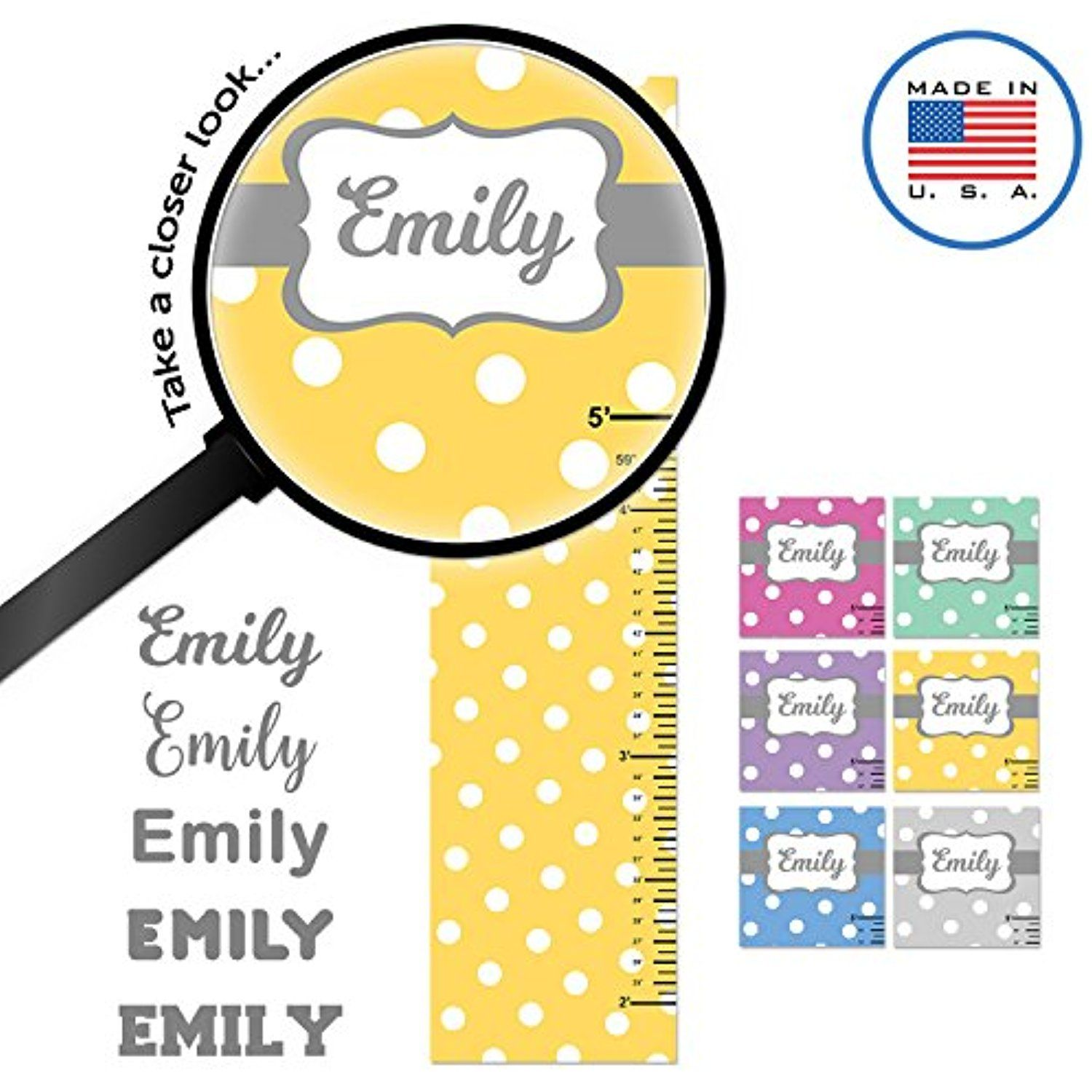 Wallclipz personalized growth chart fabric wall decal polka dots wallclipz personalized growth chart fabric wall decal polka dots yellow white name height ruler measurement peel and stick nursery baby girl boy geenschuldenfo Images