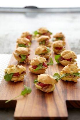 in the loop - Home - recipe: tomato, prosciutto and arugula stuffed cheese puffs